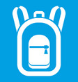 backpack icon white vector image vector image