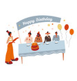 birthday party clown and children around table vector image