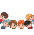 border of cute anime tennagers facial expression vector image vector image