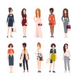 bundle of beautiful young women dressed in trendy vector image vector image