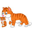 cartoon cat carrying her baby vector image vector image