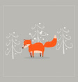 cartoon fun little foxes fox with tree vector image