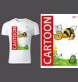 child t-shirt design with flying honeybee vector image