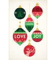 Christmas greeting card with knitted balls vector image vector image