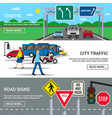 city traffic road signs banners vector image