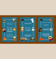 coffee beans and equipment set of banners vector image vector image