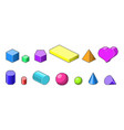 collection of pixel art 3d isometric shapes vector image vector image