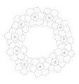 daffodil - narcissus flower outline wreath vector image vector image