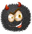 Devil face on fluffy ball vector image vector image