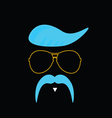 face with mustache blue vector image