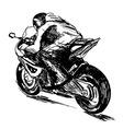 Hand sketch biker vector image
