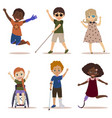 happy and active children with disabilities vector image vector image