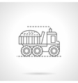 Harvesting truck flat thin line icon vector image