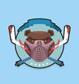 Hockey emblem Angry bear vector image vector image