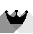 king crown sign black icon with two flat vector image vector image