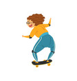 marture woman riding a skateboard grandma having vector image