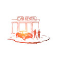men outside dealership center vector image vector image