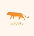 modern logotype with silhouette wild cat logo vector image