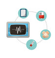 monitoring rate cardiology mecial icons vector image