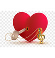 musical treble clef key to open love heart lock vector image vector image