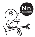 N Nightingale cartoon and alphabet for children to vector image vector image