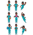 nurse indian female set vector image vector image