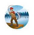 old man cartoon fishing trout fish vector image vector image