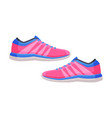 pair pink athletic shoes fitness and sports vector image