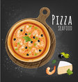 Pizza seafood vector image