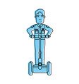 police officer on self balancing two wheel scooter vector image vector image