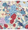 Retro Summer Seamless Floral Pattern with Birds vector image vector image