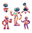 robots set humanoid cyborgs with face body arms vector image