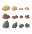 Rocks Stones Set various cartoon styled rocks and vector image