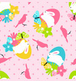 seamless pattern with easter spring bunny in vector image