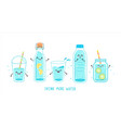 set clean and fresh water in bottles glasses vector image