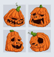 set scary halloween pumpkins isolated vector image vector image