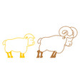 sheep and ram farm animals linear symbol vector image