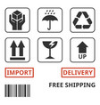 shipping and package handing symbol vector image vector image