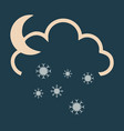 snow cloud and month simple flat symbol icon with vector image