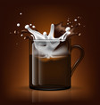 splash in cup milk and coffee vector image