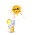 stylised sun and cocktail vector image vector image