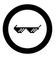 sun glasses pixel icon black color in circle round vector image vector image