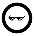 sun glasses pixel icon black color in circle round vector image