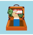 travel suitcase hand hold money ticket vector image vector image