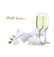 two champagne glasses and a branch white vector image vector image