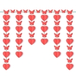 Vertical garland of paper hearts and butterflies vector image