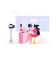 woman shooting video for beauty blog flat cartoon