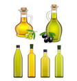 realistic glass olive oil bottles and jars vector image