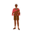 african tribal man holding stick in hands young vector image