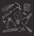 and sketch icons set carpentry tools lamp vector image